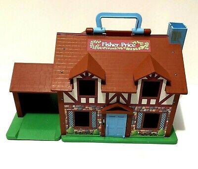 Vintage 1986 Fisher Price Little People Tudor House # 952 Bell Works Garage