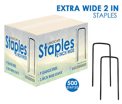 EXTRA WIDE Landscape Staples 6 Inch x 2 Inch (500 Pack)~ SOD Fabric 9 Gauge