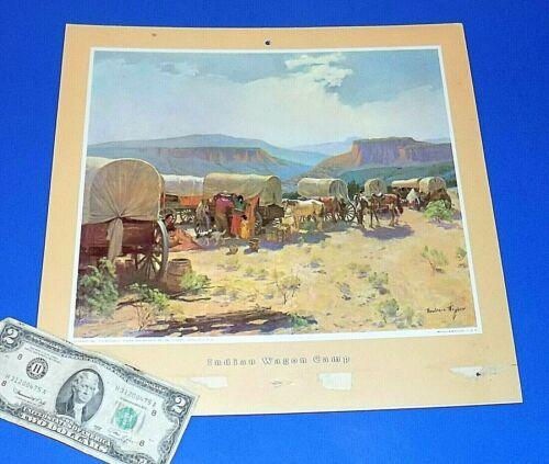 "Vintage Atchison Topeka & Santa Fe ATSF Railway Calendar Top ""Wagon Camp"""