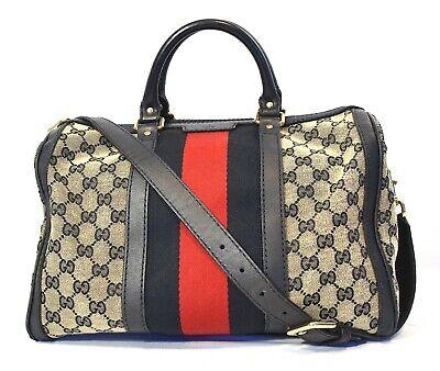 Gucci Vintage GG Canvas Boston Bag Satchel