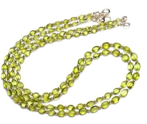 """Natural Gem Olive Green Peridot 6x4 to 7x5mm Oval Nugget Beads Necklace 18"""""""