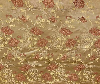 Antique VTG Chinese PEONY Silk Gold  Brocade Damask Fabric Curtain Panel 46x106