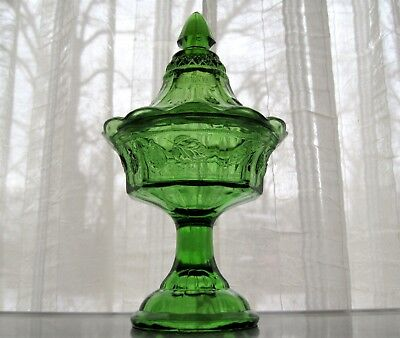 Tiara Indiana Glass Lime Green Strawberry Candy Box Jar & Cover
