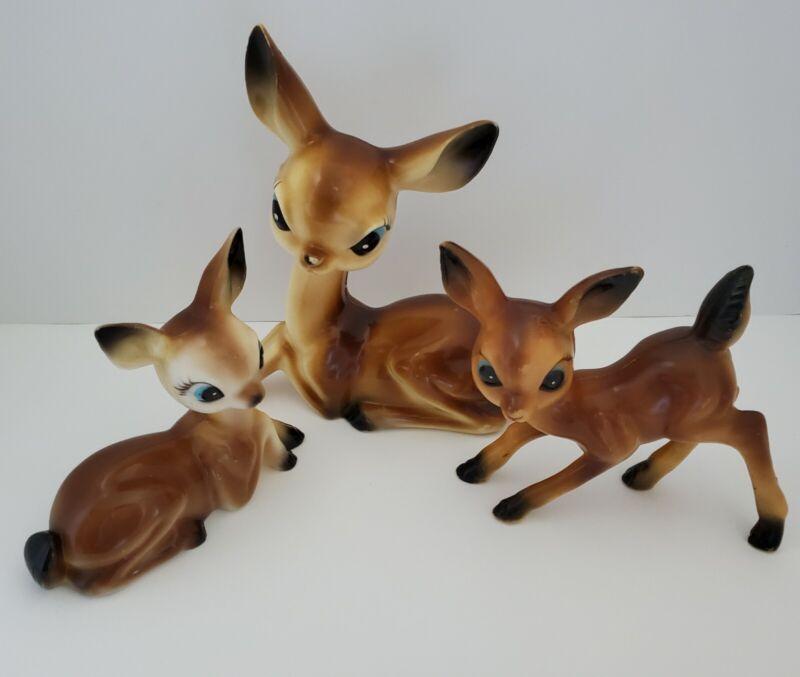 Vintage MCM Big Eye Deer Family Fawn Doe Christmas Figure Hong Kong Plastic Lot