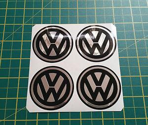 Set ALLOY WHEEL STICKERS 4 x 55mm VW logo Chrome Effect centre cap badge trim