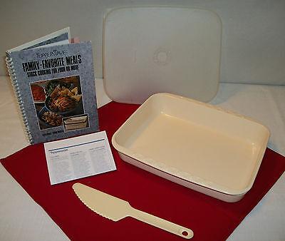 Tupperware ALMOND Stack Cooker 3 Qt Rectangle Roaster ~Cookbook ~Server Slicer
