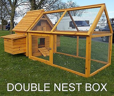 CHICKEN COOP RUN HEN HOUSE POULTRY ARK HOME DOUBLE NEST BOX COOPS HUTCH