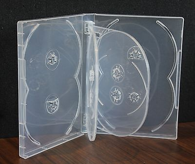 New 6 Pk Crystal Clear Multi DVD Case Box 22mm 8 Discs Holder W Flap Premium