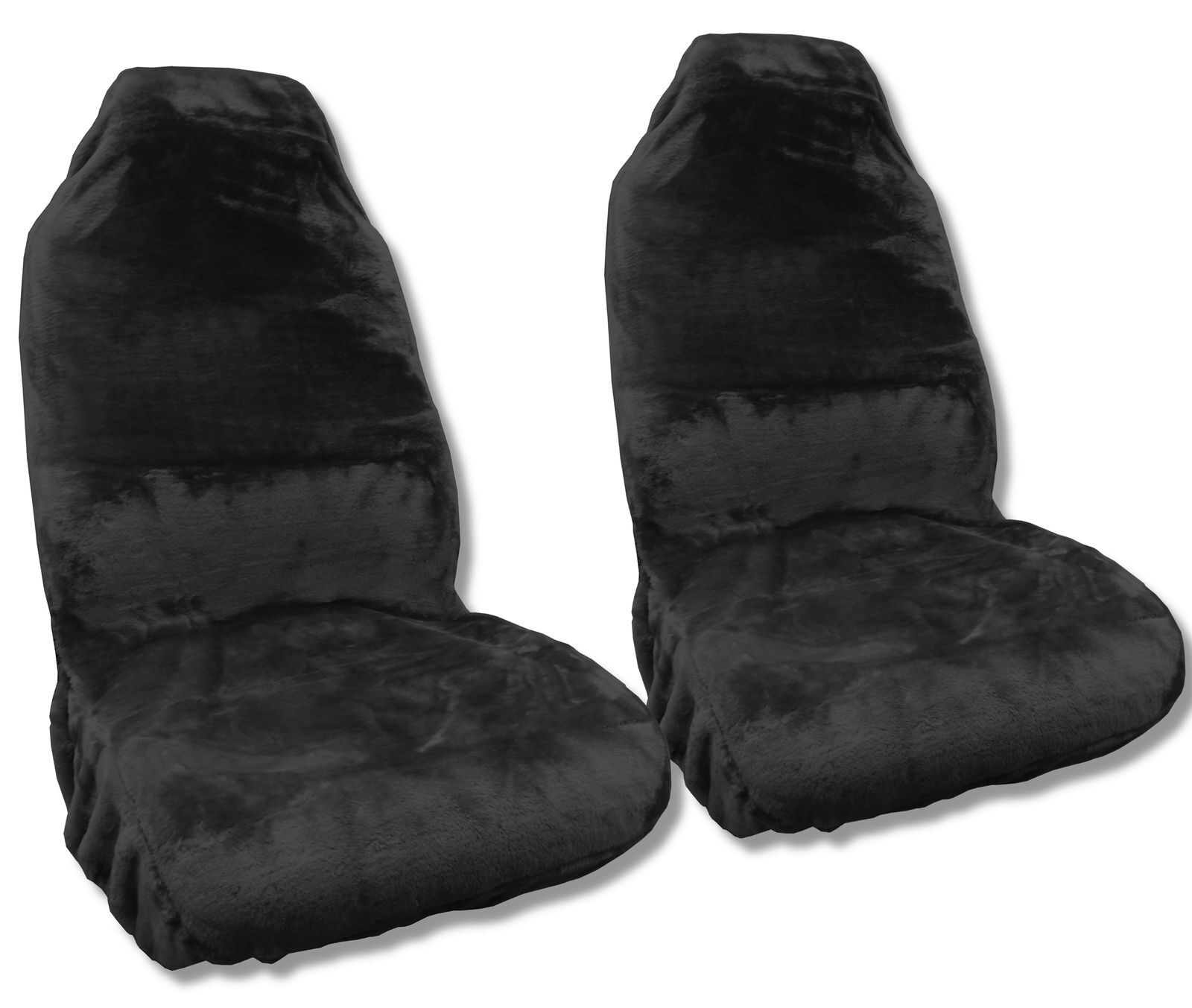 faux sheepskin seat covers pair black synthetic fleece wool plush comfort ebay. Black Bedroom Furniture Sets. Home Design Ideas