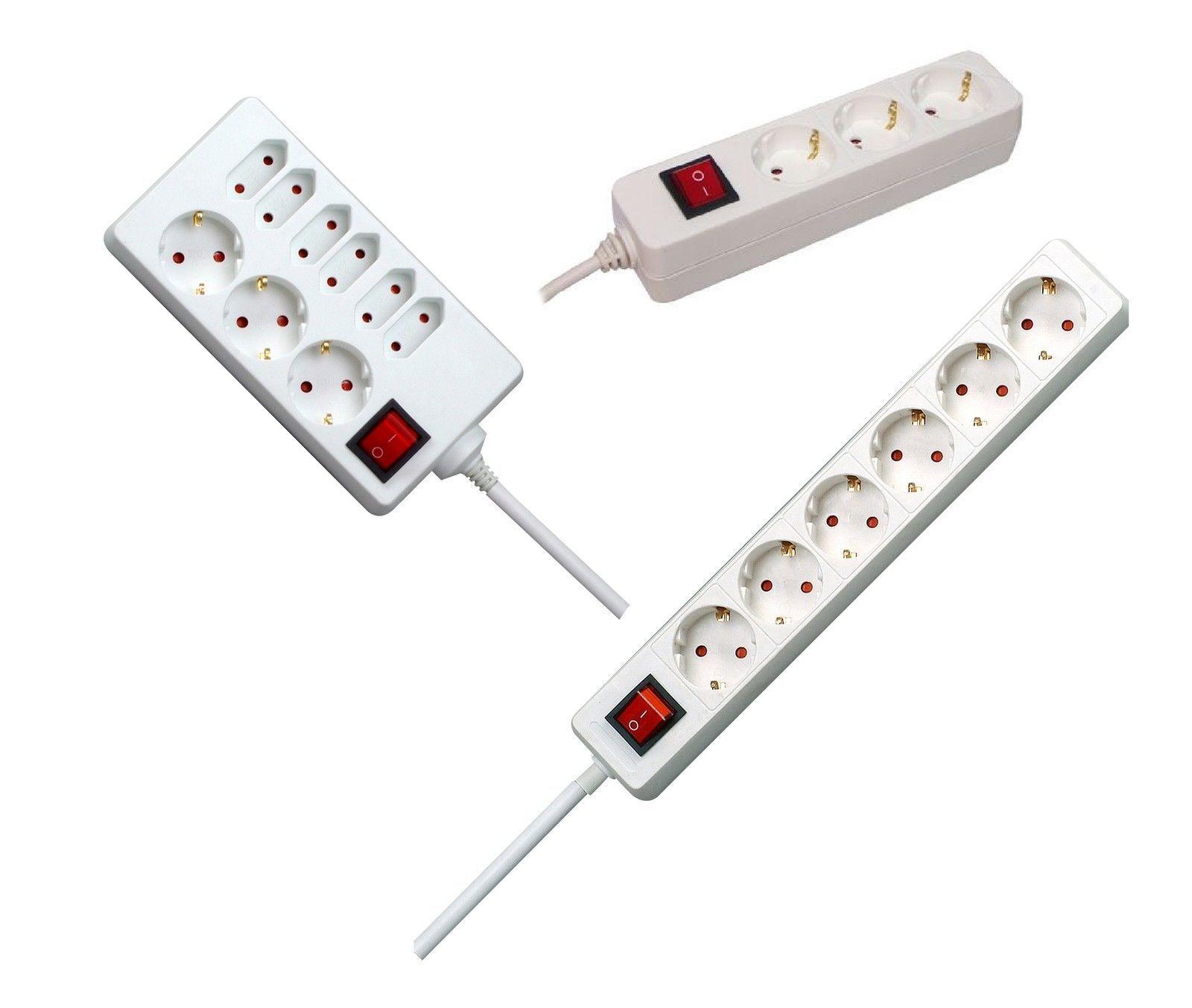 Steckdosenleiste 3 / 6 / 8 Fach Steckdose 1,4m Kabel Kinderschutz Schalter USB