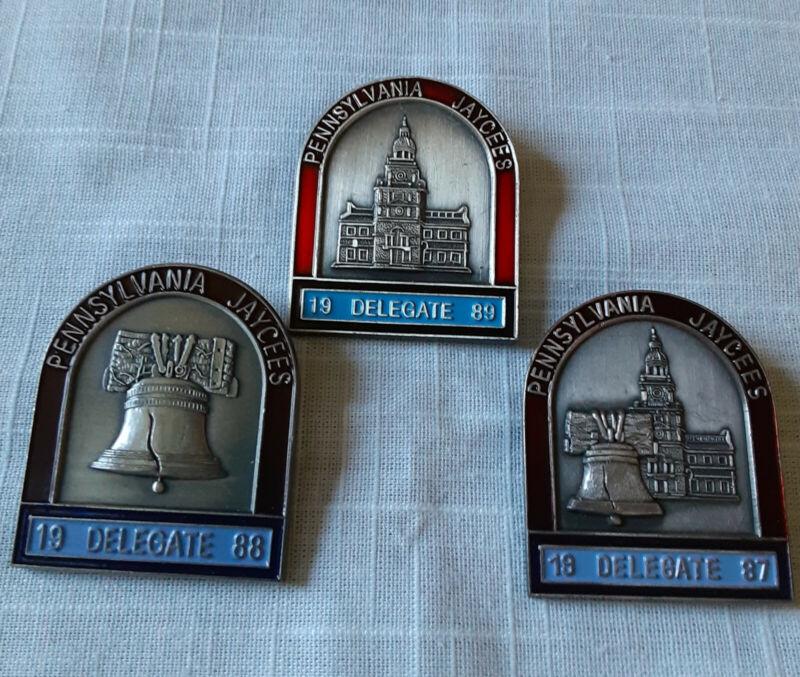 3 Philadelphia Independence PA JAYCEE PINS Delegate 87,88,89 Liberty Bell