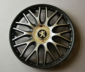 14 peugeot 106 107 206 306 partner wheel trims covers hub caps black silv ebay. Black Bedroom Furniture Sets. Home Design Ideas
