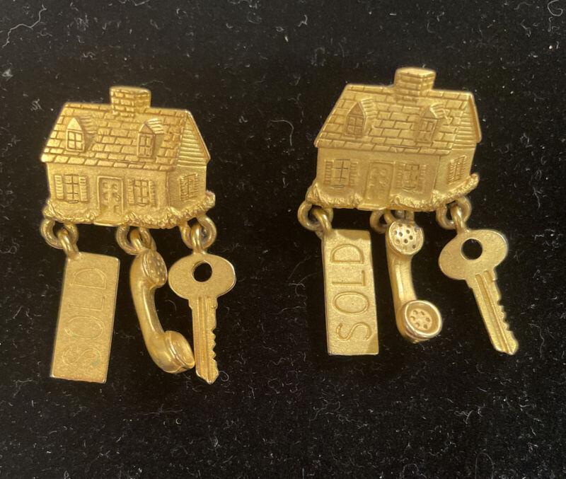 Vintage JJ Jonette House Sold (Realtor) Earrings Pierced Gold Toned Women