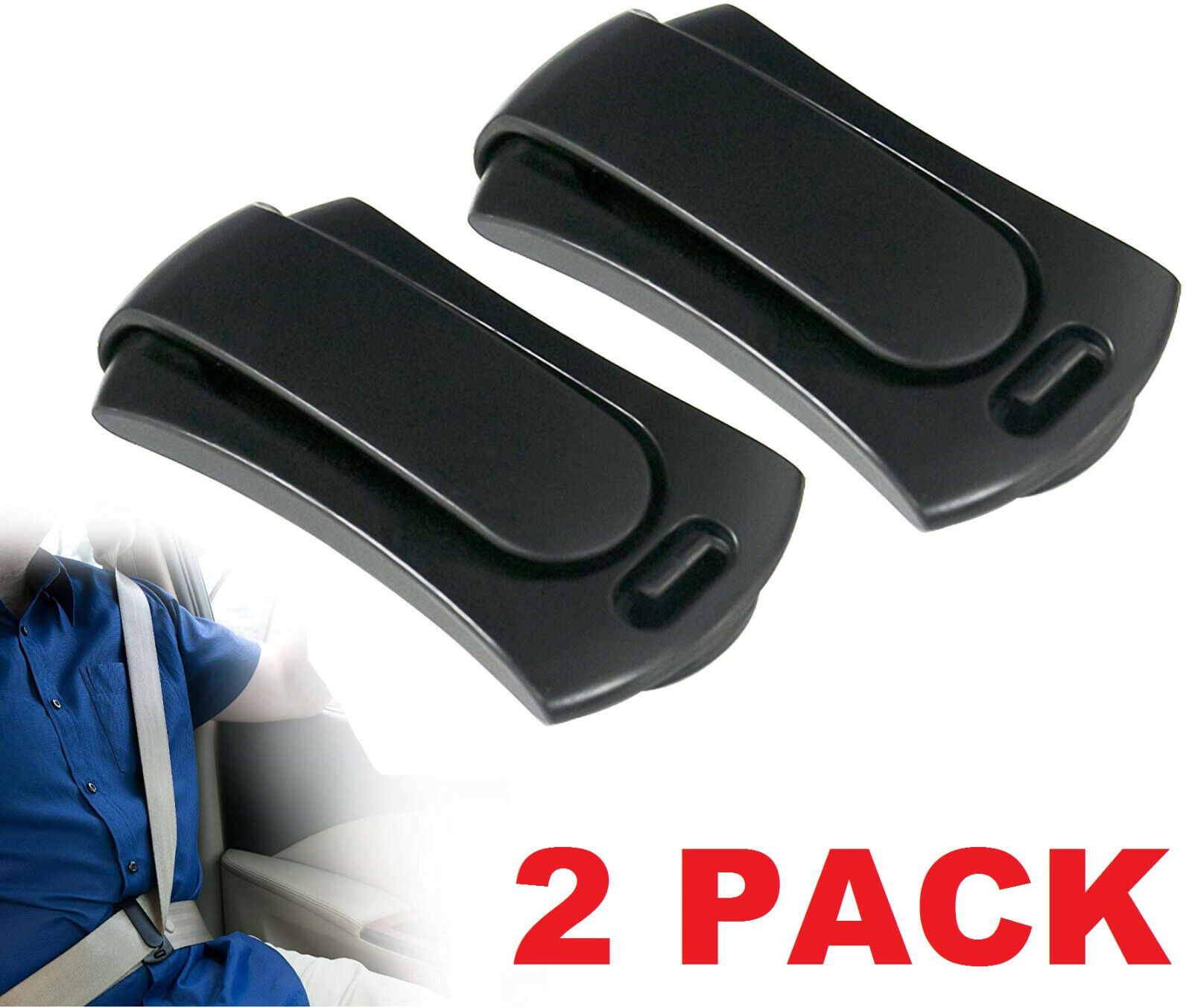 2x Car Seat Belt Adjuster Buckle Strap Comfort Seatbelt Clips Extender Stopper Car & Truck Parts