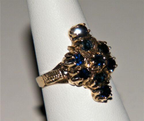 Antique Victorian 14K YELLOW GOLD BLUE SAPPHIRE RING Ladies Sz 5.5 Marked Nice!