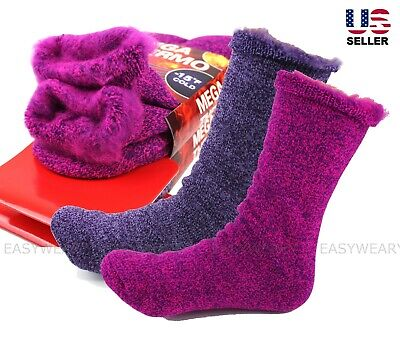 2 Pairs Womens Heavy Duty Cotton Wool Brushed Fleece Lined Winter Thermal Socks Heavy Brush Cotton