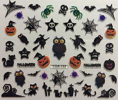 Nail Art 3D Decal Stickers Halloween Owl Witch GraveYard Bat Spider Skull YGA124 - Bat Halloween Nails