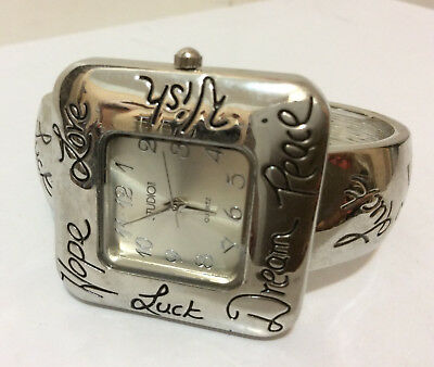 Hope Luck Wish Dream Silver Square Metal Cuff Watch Bracelet Inspirational NEW Dreams Cuff Watch