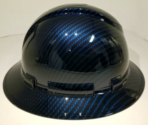 NEW FULL BRIM Hard Hat custom hydro dipped Deep blue candy carbon fiber sick  1