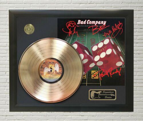 "Bad Company Framed wood Reproduction Signature LP Record Display. ""M4"""