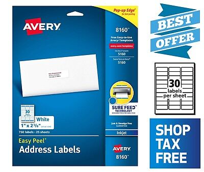 Avery Address Label With Sure Feed 750 Labels For Inkjet Printers 1 X 2-58
