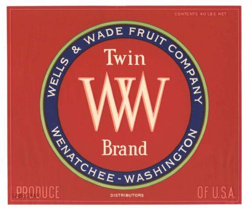 TWIN WW Brand, Wenatchee, **AN ORIGINAL APPLE CRATE LABEL** 182, red distributor