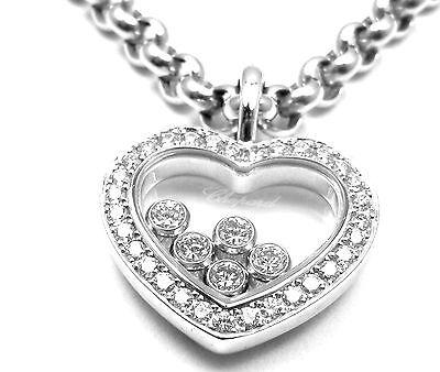 Authentic! Chopard Happy Diamond 18K White Gold Heart Pendant Necklace