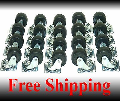 Caster Wheel With Ball Bearings Lot Of 20 New 2 Swivel Base Casters