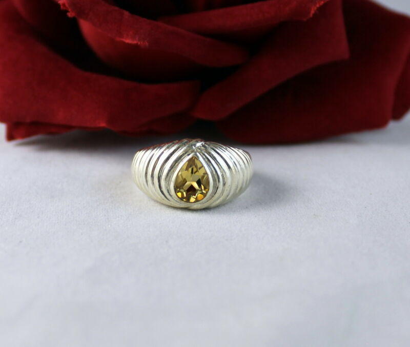 Sterling Silver Yellow Tear Drop  7.49g  Size 7.5  Ring   CAT RESCUE