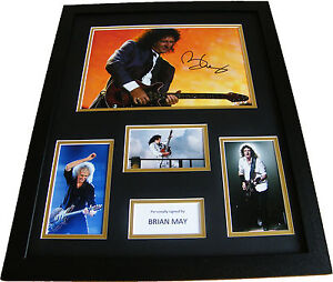 BRIAN-MAY-RARE-HAND-SIGNED-FRAMED-HUGE-PHOTO-MOUNT-DISPLAY-QUEEN-PROOF-COA
