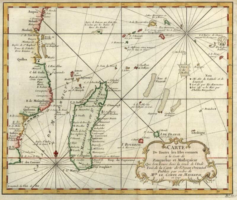 Africa coast Madagascar Islands 1746 Bellin decorative hand colored map