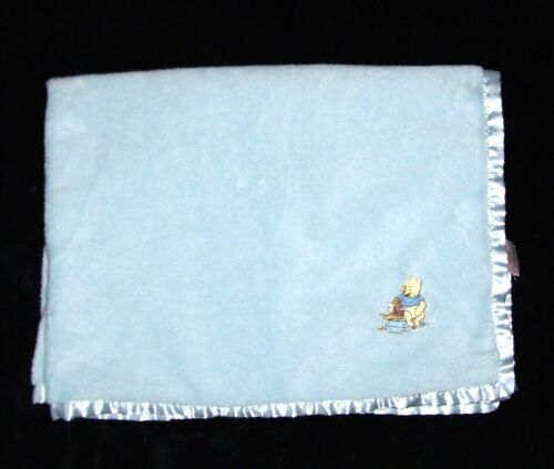 Walt Disney Collection Winnie the Pooh Roo Blue Baby Blanket Satin Security
