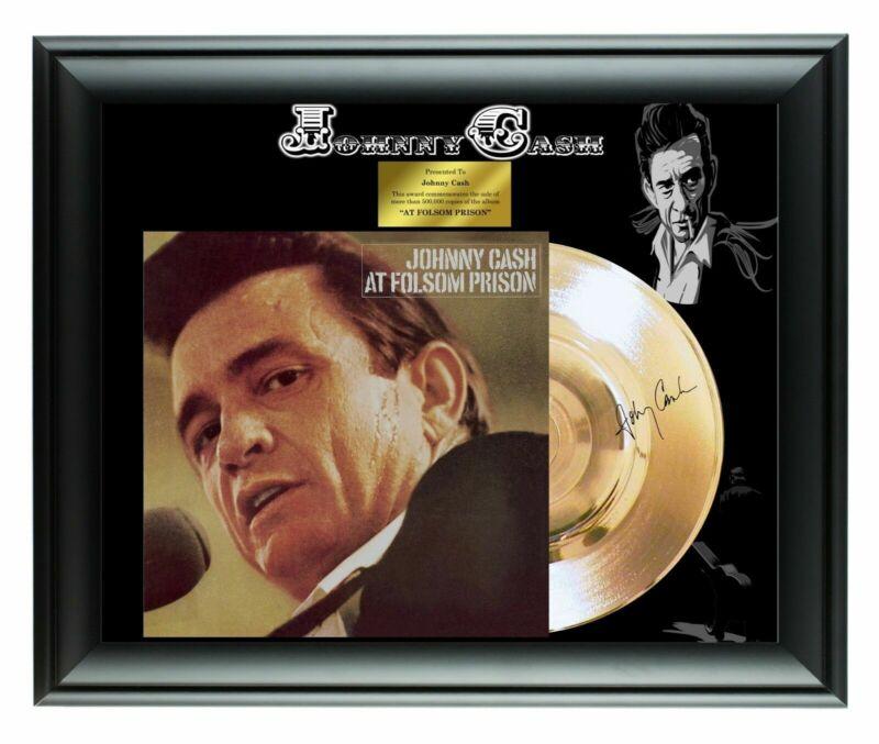 Johnny Cash Autographed At Folsom Prison Album LP Gold Record Award