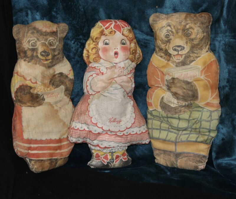Antique Kelloggs Advertising Bears and Golilocks Stuffed Toys