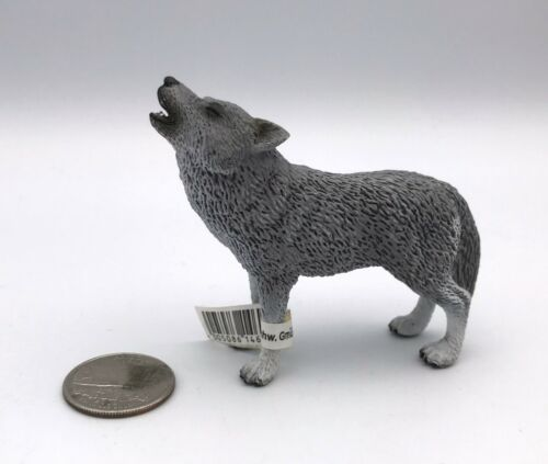 Schleich GREY WOLF HOWLING Animal Wildlife figure 2009 Retired 14626