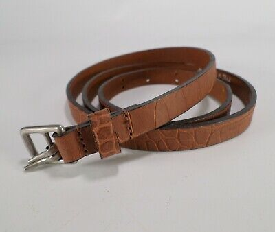 Abercrombie & Fitch Italian Leather Belt Alligator Croc Print Brown M 34 36