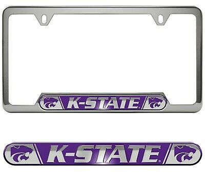 Kansas State K-State Wildcats Premium Stainless Metal License Plate Frame