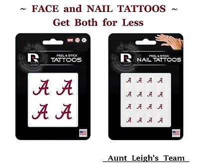 Alabama Crimson Tide Temporary Tattoos - University Alabama Crimson Tide Combo BOTH Face & Nail Decals Temporary Tattoos
