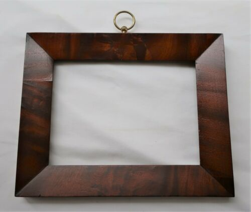 SMALL FITS 6 X 8 ANTIQUE VENEER PICTURE FRAME COUNTRY PRIMITIVE MAHOGANY WOOD