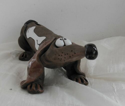 MID CENTURY MODERN WEINER DOG DASHUND POTTERY CLAY BANK