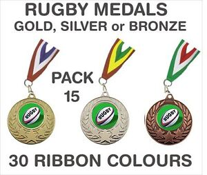 PACK-OF-15-86p-each-Rugby-Medals-Budget-Ribbons-Metal-50mm-Ref-GMM7050-MR1