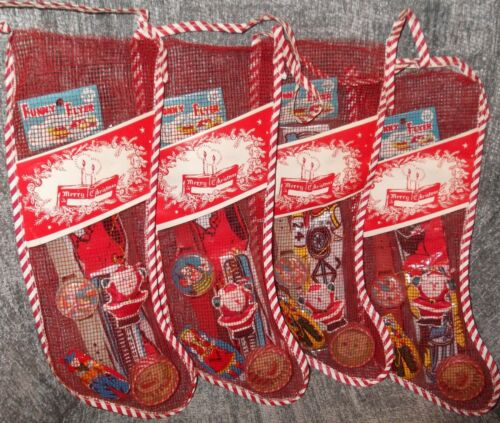 "RARE Vtg 12"" Mesh Christmas Stocking W/Paper Label & 1960s/70s NOS Toys Games"