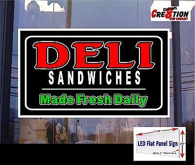 Deli Sandwiches Made Fresh Daily 48x24 Led Flat Panel Illuminated Window Sign