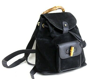 Authentic GUCCI Vintage Bamboo Black Suede Leather Backpack Bag Hand Bag Italy