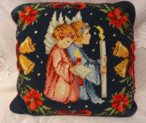 Vtg Imperial Elegance Christmas Needlepoint Pillow Praying Angels Candle RARE