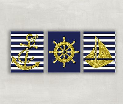 Nursery Prints Nautical Baby Wall Decor Sailboat Kids Room Pictures Boy Girl - Baby Girl Nursery Pictures