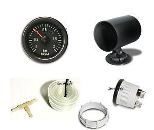 manometre pression de suralimentation turbo 52mm support neuf ebay. Black Bedroom Furniture Sets. Home Design Ideas