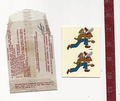 Vintage IMPKO water decal Indian with tomahawk motorcycle Rat Rod