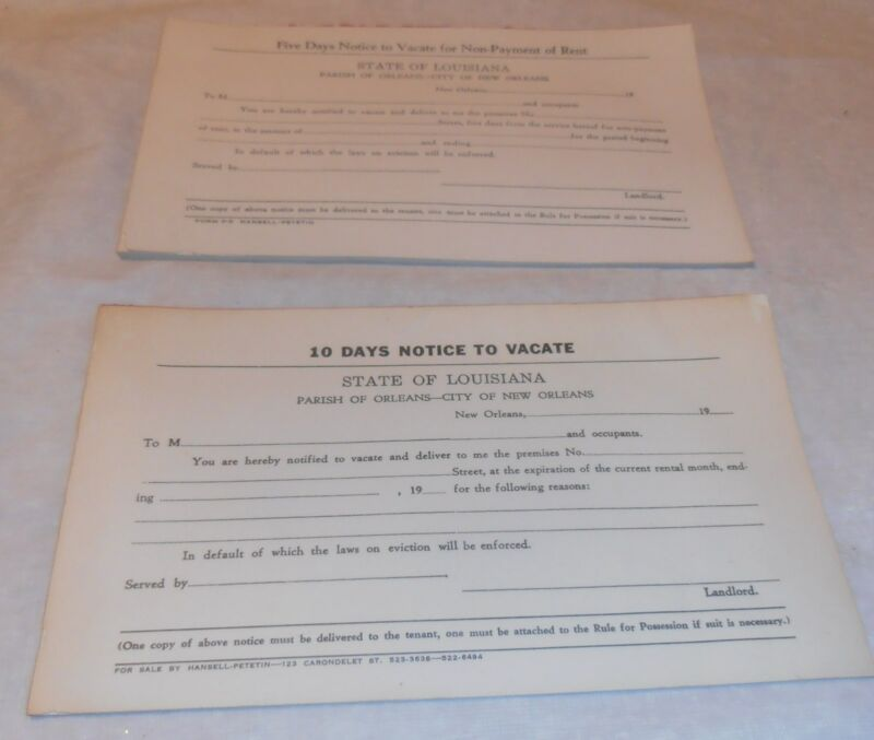 VINTAGE OLD NEW ORLEANS 5 10 DAY VACATE PROPERTY NOTICE FORMS ORLEANS PARISH LA.