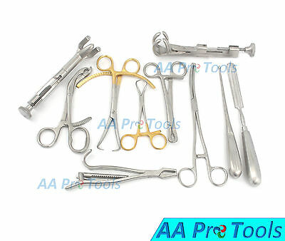 10 Assorted Orthopedic Surgical Instruments Custom Made Set - O.r. Grade